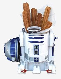R2D2 serves up churros and chocolate dipping sauce in Hollywood Studios for Star Wars weekends! MouseTalesTravel.com