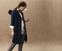 Autumn Embroidery Wide-lapel 3/4 Length Sleeved Wind Coat