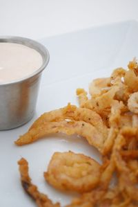 Onion Strings with Dipping Sauce... YUMMO
