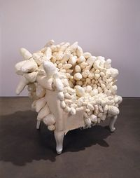 Yayoi Kusama (b. 1929), Accumulation, c. 1963. Sewn and stuffed fabric, wood chair frame, paint, 35 1/2 �— 38 1/2 �— 35 in. (90.2 �— 97.8 �— 88.9 cm). Whitney Museum of American Art, New York; purchase 2001.