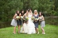 Different gray bridesmaid dresses