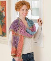Wrap Me Shawl - I like the color combination. (free pattern)