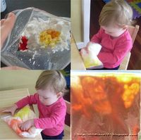 Allow your toddler to mix colors to make new ones....shaving cream, ziplock, food coloring