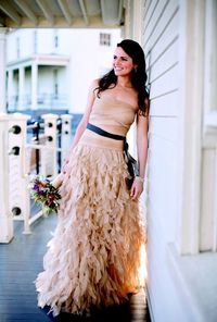 "Tadashi Shoji gown for a ""rustic chic"" San Francisco wedding. Photo by Gertrude & Mabel."
