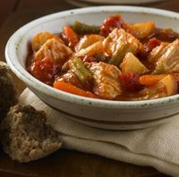 Pork and vegetables slow-cooked together with herb pasta sauce for a delicious one-dish meal. Yum:)