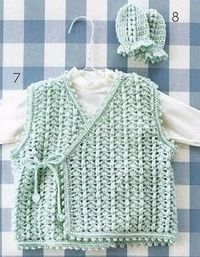 Vest and Mittens for a Baby free crochet pattern