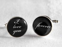 Wedding Cufflinks - I Love You Forever Silver Plated Cufflinks - Perfect Gift for Your Groom