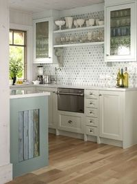 grey aqua kitchen