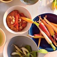 Muhammara with Crudités Muhammara is a sweet-spicy Middle Eastern dip made from roasted bell pepper, walnuts, and, traditionally, Aleppo pepper and pomegranate molasses. We subbed in readily available crushed red pepper and honey with delicious results.