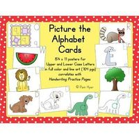 104 alphabet cards in color and line art. Letters are contained (hidden) inside of pictures that correlate with the alphabet sound to help kids remember the shape of the letter and the sound it makes.