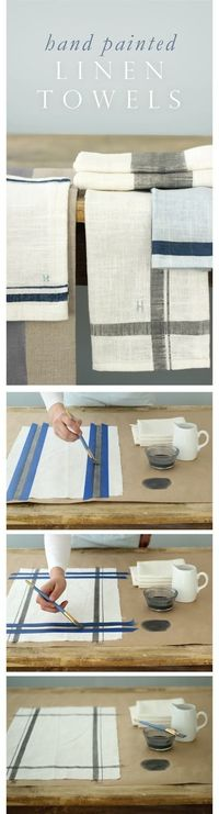 Easy Hand Painted Linen Kitchen Towels with Custom Colors and Monograms #DIY