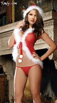 Want to spice up the gift for your loved one..look no further! The Christmas Babydoll and Thong will be a dazziling outfit.