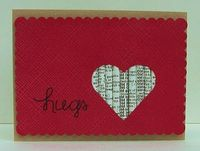 Rolled paper valentines card