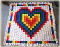 Technicolor Heart Crochet Quilt