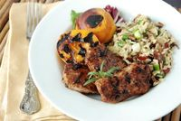 Balsamic Pork Medallions with Grilled Peaches & Wild Rice Salad