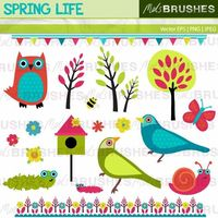 A really bright and cheerful mixed set of illustrations on a garden/nature theme, suitable for many different projects.