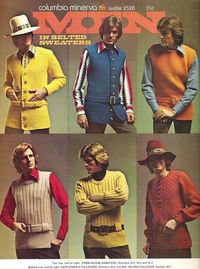 Knitted belted tunic sweaters for men, c. 1970s. Oh my. It's official. I'm learning to knit. Hubby's birthday is right around the corner. Should make a matching set for my boys too.