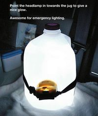 Attach headlamp to empty milk jug for a nice glow light.