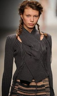 Rough and ready braids at Mark Fast Fall 2012. Photo by Anthea Simms