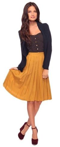Love the mustard yellow skirt