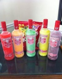 Skittle bombs: take bottles of unflavored vodka and packs of Skittles, pick one Skittle colour and put that colour in a bottle. Shake until they dissolve. Freeze to chill before serving. I sense some DANGER comin' on! ;)