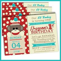 Red and Teal Sock Monkey Birthday Invitations Sock by LullabyLoo, $18.00