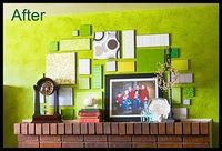 Scrapbook paper on wood pieces above mantel.