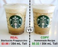 Starbucks Mocha Frappuccino:1 3/4 c of crushed iced,3/4 c of milk,3/4 c of double strength coffee mixed with a cup of milk and1 tbs. of sugar ,2 tbsp chocolate syrup*optional whipped cream and chocolate syrup. Blend all the ingredients except the whipped ...