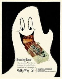 Spooktastically fun 1950s ad for Milky Way Chocolate Bars. #ghost #ad #chocolate #candy #Halloween #1950s #fifties