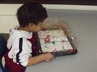 Golf Ball Art - Place a golf ball and some paint inside a cake tray from the grocery store. Allow the students to shake, hit and move the tray back and forth to see what they can create!