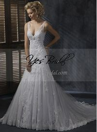 A-line V-neck Sweep Train Satin Tulle Wedding Dress WAL0282