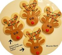 upside down gingerbread man cutter=reindeer!