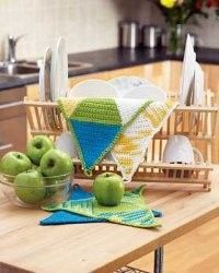 Spring colors can decorate your kitchen year-round. Use this free crochet pattern to brighten the room and give it some design as the cloths are triangular in shape.