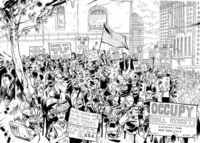 Occupy Wall Street, on location drawing by Joshua Boulet
