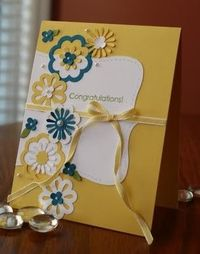 Stampin' Up! Triple layer punch layering with perfectly tied taffeta ribbon