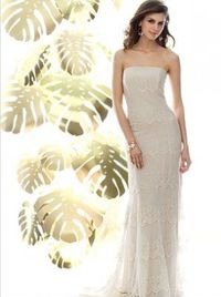 Full-length strapless lace gown with sweep train. Available in antique ivory lace with matching lining only. Optional spaghetti straps included.