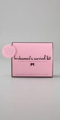 Bridesmaid survival kit - put one together yourself: folding brush with mirror, hairspray, clear elastics, bobby pins, earring backs, emery board, clear nail polish and remover, mending kit, double-sided tape, stain remover, static remover, breath freshen...