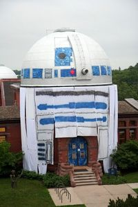 In June of 2010, students at Minnesota's Carleton College unveiled an awesomely elaborate prank. They turned the campus astronomical observatory into a giant R2D2.