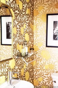 Design Manifest: DM Project: Powder Room Before and After. Asuka gold wallpaper vintage gold mirror wall mount vanity black and white photography