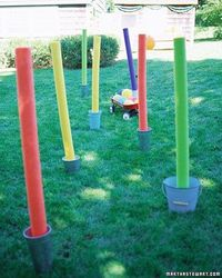 "for gym ""how to throw an obstacle course party"". Could use this idea to create stands for roping off art gallery or for red ropes for Hollywood theme."
