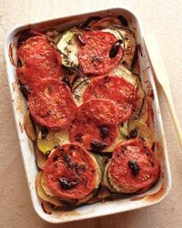 Provencal Vegetable Tian - a perfect showcase for your late-summer harvest of zucchini, eggplant, and tomatoes