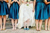 Color, different bridesmaid dresses in same material...