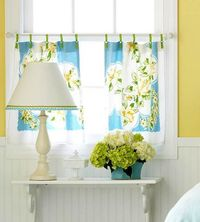 Curtains made from vintage linens.