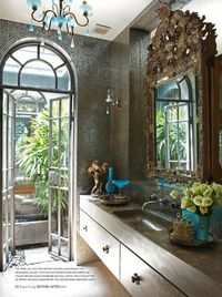 mosaic & limestone decorate exotic bathroom