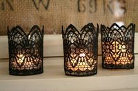 DIY Lace votive holders - Would be cute w/blush & peach lace.