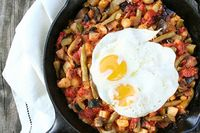 summer ratatouille with fried eggs! yum!