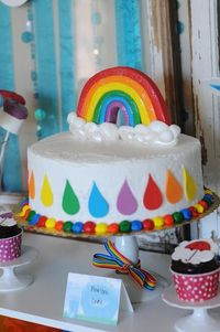 Rainbow + April Showers Birthday Party: The Cake