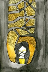 #art #illustration #watercolors #grey #yellow #girl #forest #sadness