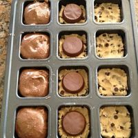 Cookie dough, peanut butter cup, brownie