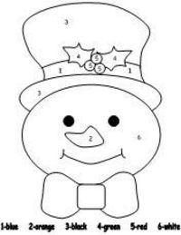 snowman color by number pages Preschool items Juxtapost